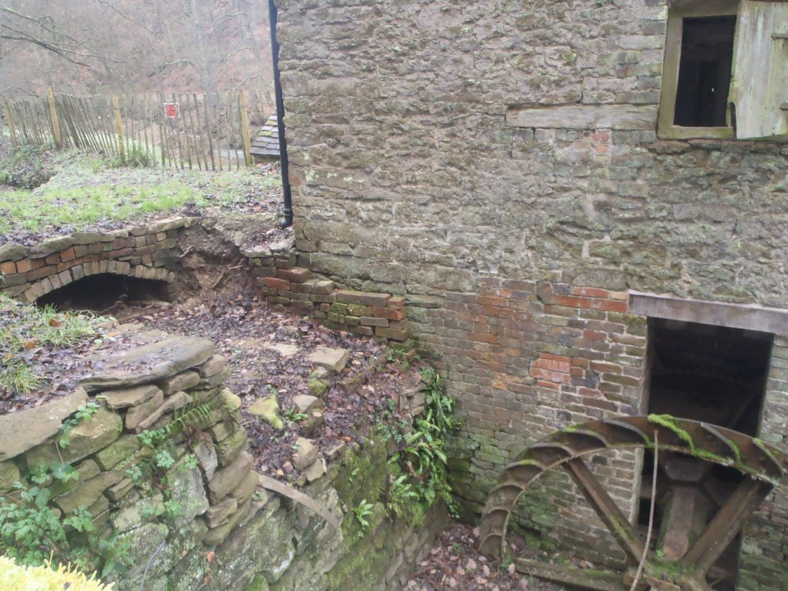 Water channel from pond onto water wheel