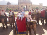 Riding an elephant up to the Amber Fort in Rajasthan