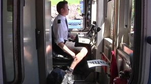 Swedish Train driver wearing a skirt (from BBC website)