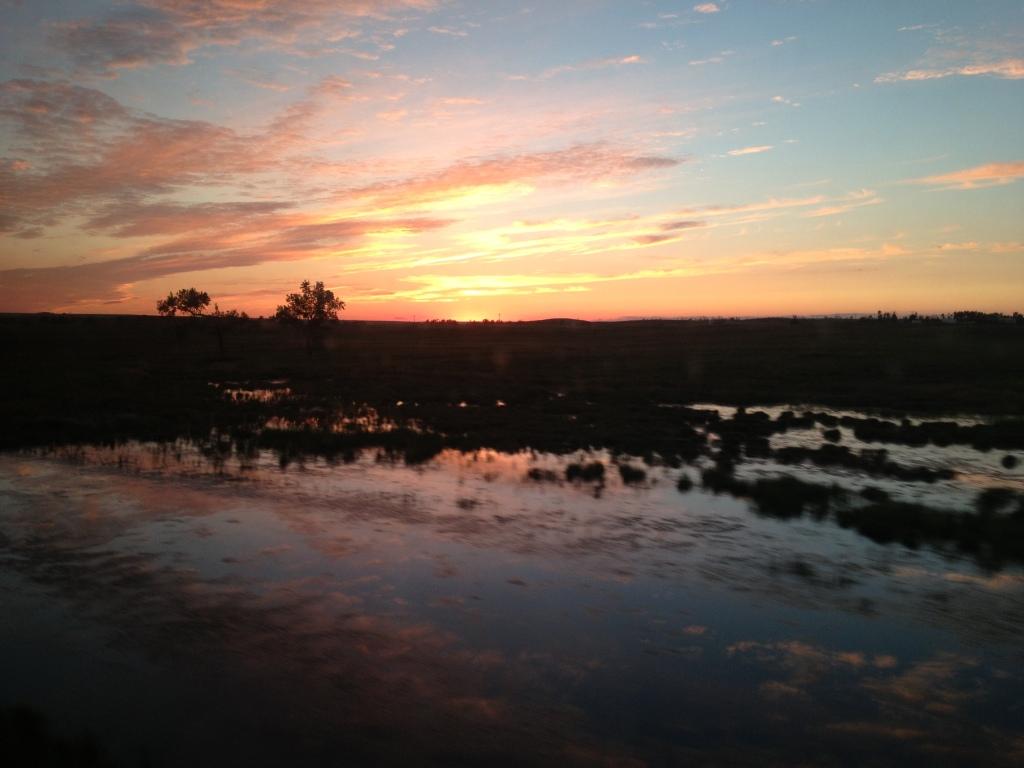 Sun setting over North Dakota