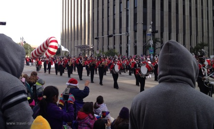being followed by an enormous candy cane!