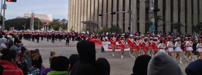 Not sure which group was bigger - the drill 'dancers' or the marching band