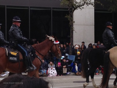 Mounted Houston PD in fancy dress for Christmas