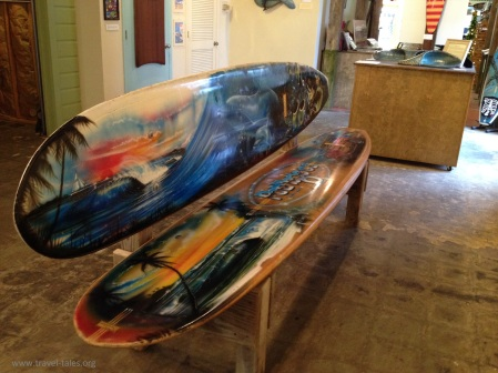 Texas Surf Museum surfboard bench